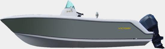 Lancha de Pesca Victory 260 corAzul Cinza