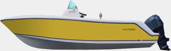 Lancha de Pesca Victory 260 cor Amarelo